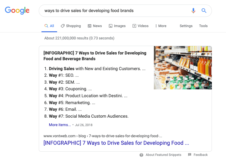 featured-snippet-example-food-marketing-infographic